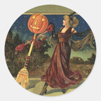 Vintage Halloween, Beautiful Dancing Witch Round Sticker