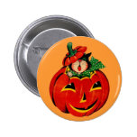 Vintage Halloween Black Cat 6 Cm Round Badge