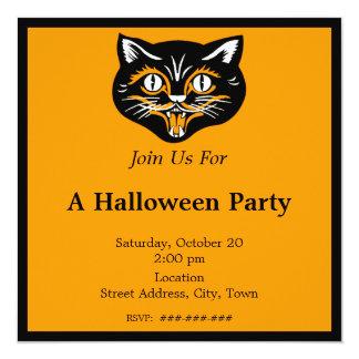 Vintage Halloween Black Cat Face Party 13 Cm X 13 Cm Square Invitation Card