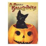 Vintage Halloween Black Cat Pumpkin Carving Party Personalized Announcement