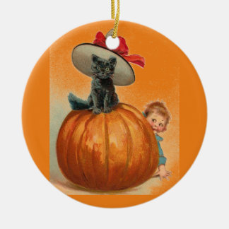 Vintage Halloween Black Cat Witch Hat Baby Christmas Ornament