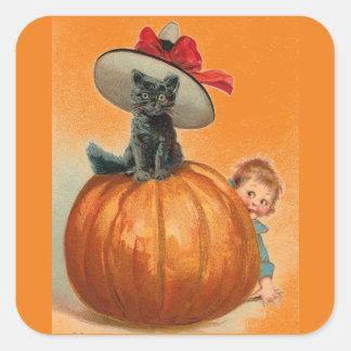 Vintage Halloween Black Cat Witch Hat Pumpkin Baby Square Sticker