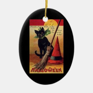 Vintage Halloween Black Cat, Witch's Broom and Hat Ceramic Oval Decoration