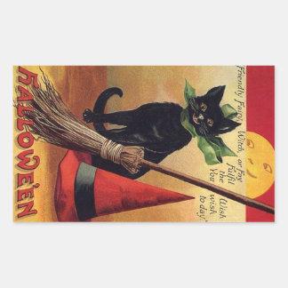 Vintage Halloween Black Cat, Witch's Broom and Hat Rectangular Sticker