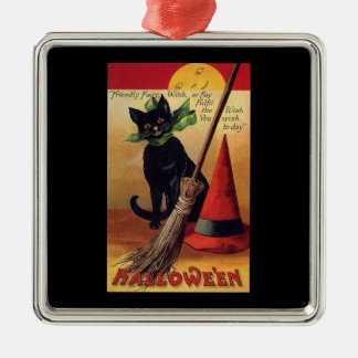 Vintage Halloween Black Cat, Witch's Broom and Hat Silver-Colored Square Decoration