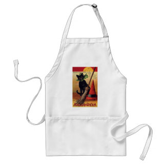 Vintage Halloween Black Cat, Witch's Broom and Hat Standard Apron