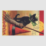 Vintage Halloween Black Cat, Witch's Broom and Hat Stickers