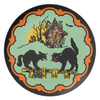 Vintage Halloween Black Cats And Haunted House Plate