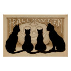 Vintage Halloween black cats party decor poster