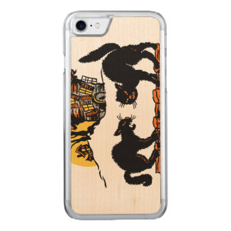 Vintage Halloween Black Cats Trick or Treat Carved iPhone 7 Case