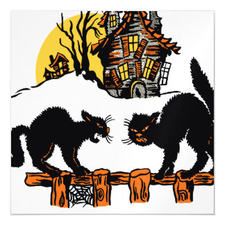 Vintage Halloween Black Cats Trick or Treat Magnetic Invitations