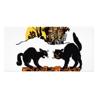 Vintage Halloween Black Cats Trick or Treat Personalised Photo Card