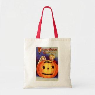 Vintage Halloween Boy and Girl Budget Tote Bag