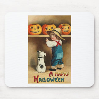 Vintage Halloween Boy, Puppy and Jack-o-lantern Mouse Pad
