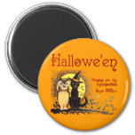 Vintage Halloween Cat and Owl Magnet