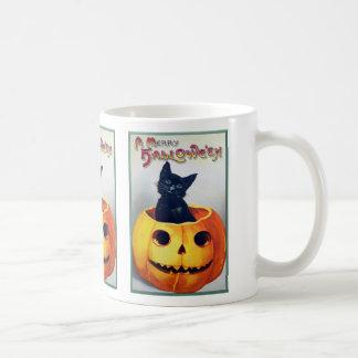 Vintage Halloween Cat and Pumpkin Basic White Mug