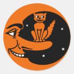 Vintage Halloween - Cat in the Moon Round Sticker