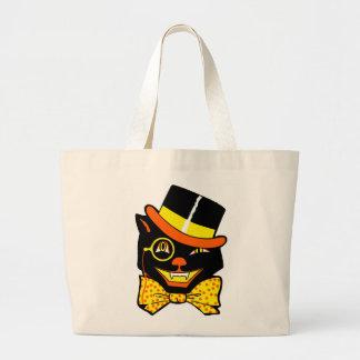 Vintage Halloween Cat in Top Hat Totebag Jumbo Tote Bag