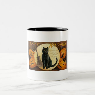 Vintage Halloween Cat Mugs
