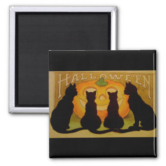Vintage Halloween Cats and Jack O'Lantern Square Magnet