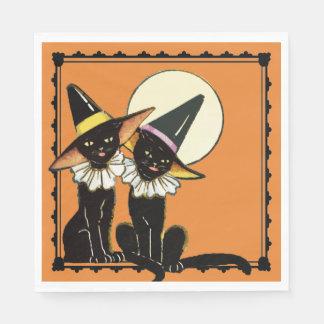 Vintage Halloween Cats Napkin Disposable Serviette