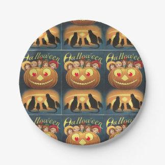 Vintage Halloween Cats Pumpkin People Blue Orange 7 Inch Paper Plate