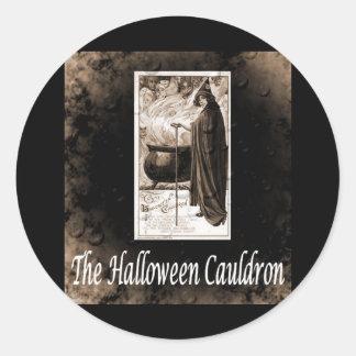 Vintage Halloween Cauldron B&W Round Sticker