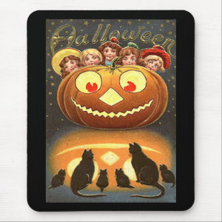 Vintage Halloween Children and Cats Mouse Pad
