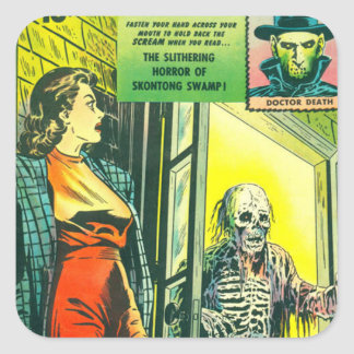 Vintage Halloween Comic Book Square Sticker