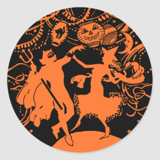Vintage Halloween Costume Party Classic Round Sticker