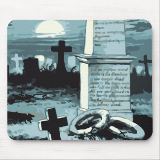 Vintage Halloween, Creepy Cemetery with Graves Mouse Pad