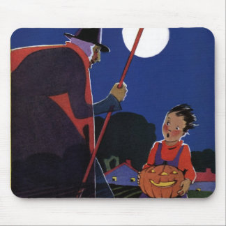 Vintage Halloween, Creepy Witch with Boy Mouse Pad