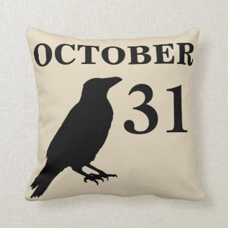 Vintage Halloween crow pillow