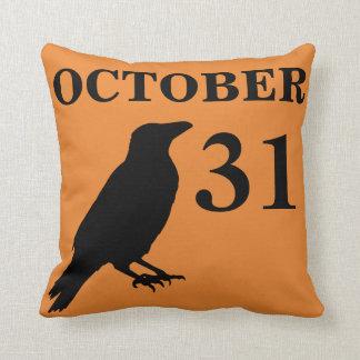 Vintage Halloween crow pillow