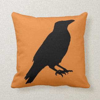 Vintage Halloween crow Throw Pillow