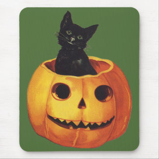 Vintage Halloween, Cute Black Cat in a Pumpkin Mouse Pad