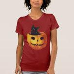 Vintage Halloween, Cute Black Cat in a Pumpkin Tee Shirts