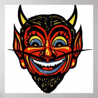 Vintage Halloween Devil Head Poster