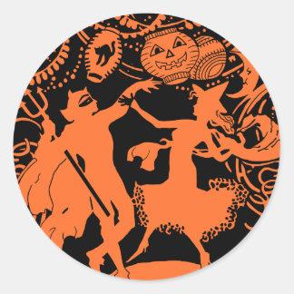 Vintage Halloween Devil Witch Dance Round Sticker