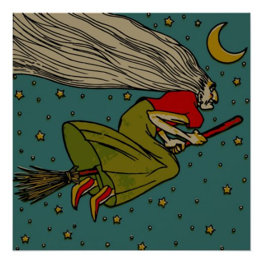 Vintage Halloween, Evil Witch Flying on Broomstick Poster