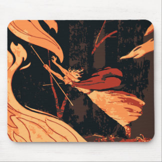 Vintage Halloween, Evil Witch with Fire in Forest Mouse Pad
