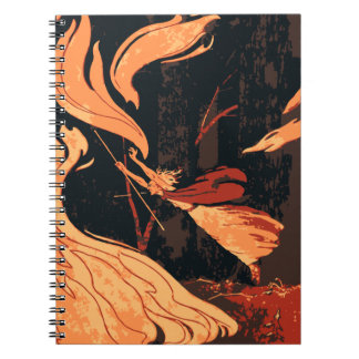 Vintage Halloween, Evil Witch with Fire in Forest Spiral Notebook
