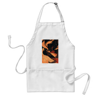 Vintage Halloween, Evil Witch with Fire in Forest Standard Apron