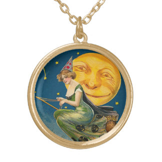 Vintage Halloween Flying Witch Gold Plated Necklace