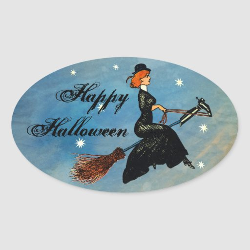 Vintage Halloween Flying Witch Stickers