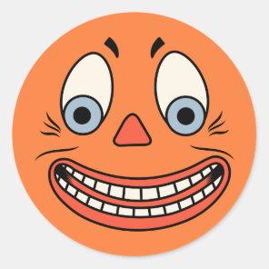 Vintage Halloween German Jack O'Lantern Face Classic Round Sticker