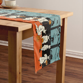 Vintage Halloween Ghost Parade Short Table Runner