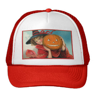 Vintage Halloween Girl and a Pumkin Hat