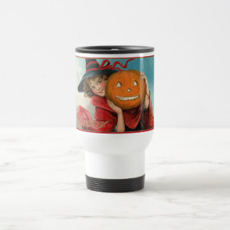 Vintage Halloween Girl and a Pumkin Mugs
