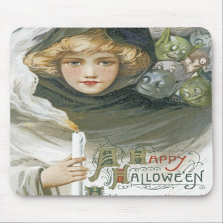 Vintage Halloween Girl Mouse Pads